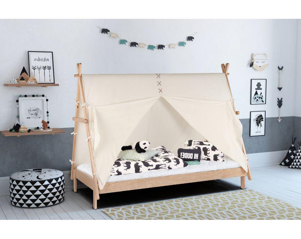 Lit Enfant Tipi Avec Rangement Bois Et Coton Naturel Apache Miliboo Lit Enfant Rangement Bois Lit
