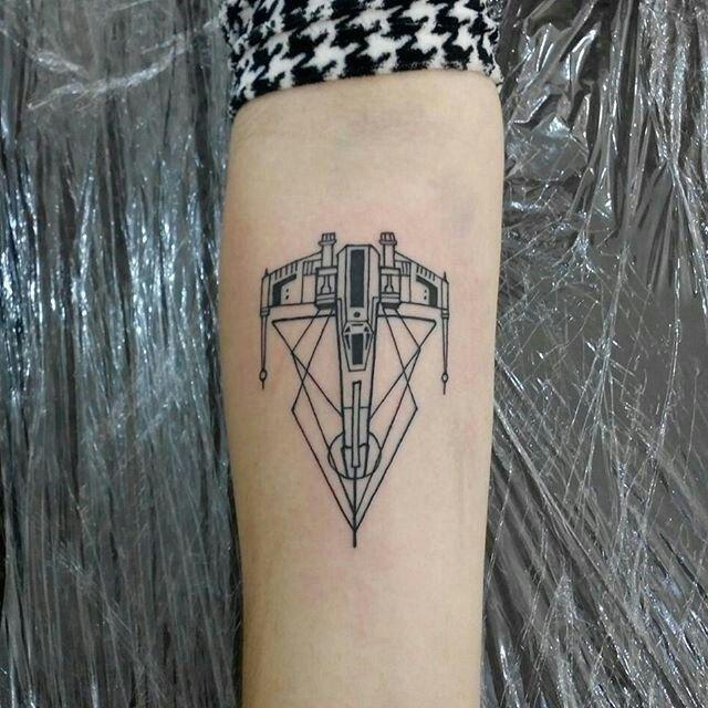 Geometric X Wing Tattoo Forearm Inked Tattoos Star Wars Tattoo