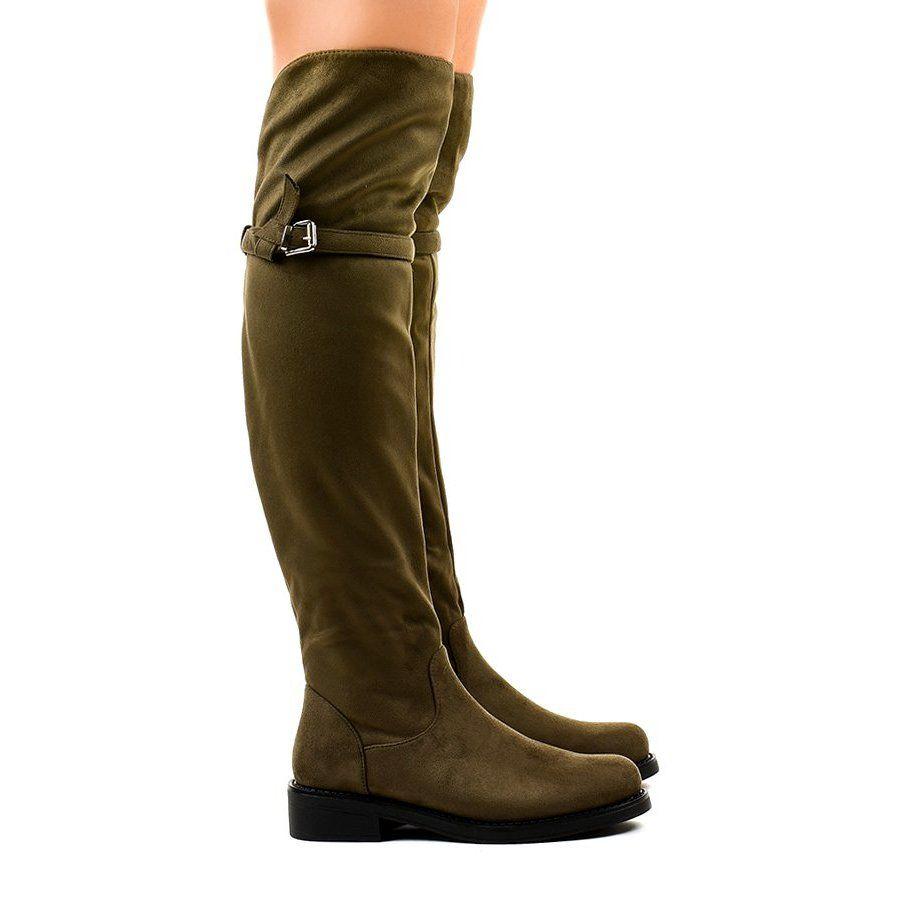 Kozaki Damskie Butymodne Zielone Kozaki Plaskie Za Kolano Su 2850 Knee Boots Flat Boots Womens Boots