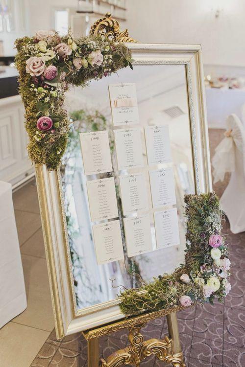 Espejo decorado con seating plan en papel mesas - Espejo de papel ...