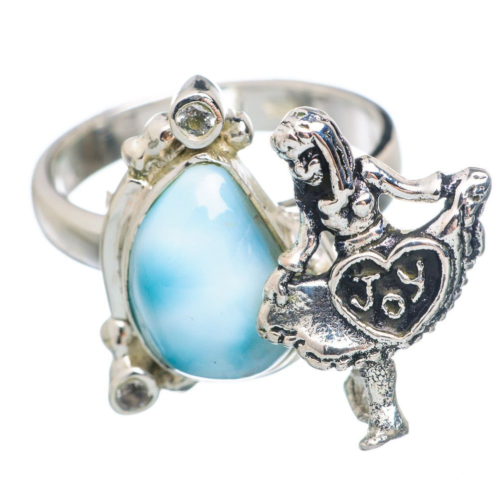Rare larimar girl cz sterling silver ring size ring