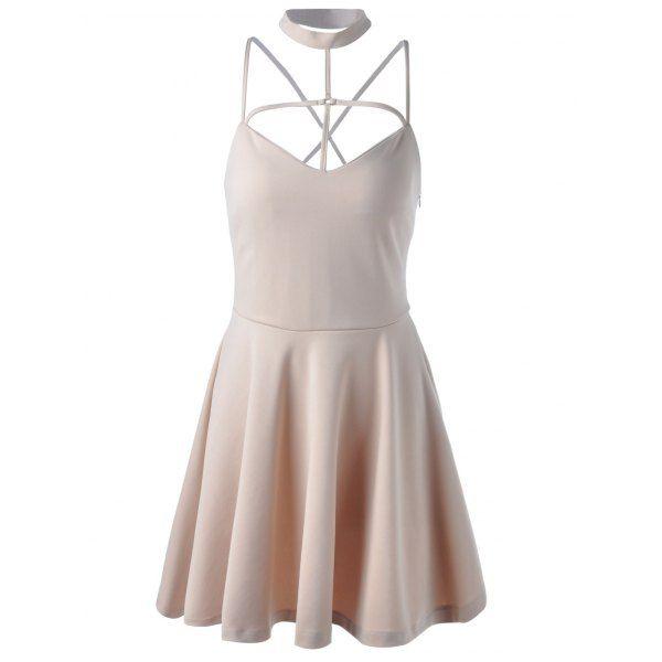 Fashionable Women's Stand Neck Spaghetti Strap Lace-Up Sleeveless Flare Dress — 20.23 € Size: S Color: LIGHT KHAKI