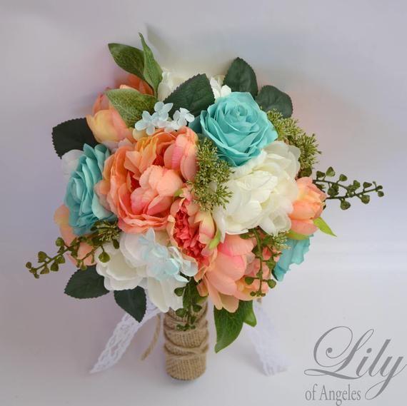 Wedding Bouquet, Bridal Bouquet, Bridesmaid Bouquet, Silk Flower Bouquet, Wedding Flowers, Coral, Spa, Robin's Egg, Pool, Lily of Angeles #bridesmaidbouquets