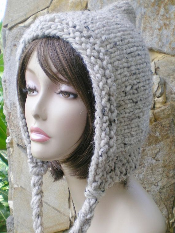 05d9cb335c5 hand knit hood hat with braids scarf by annmag on Etsy