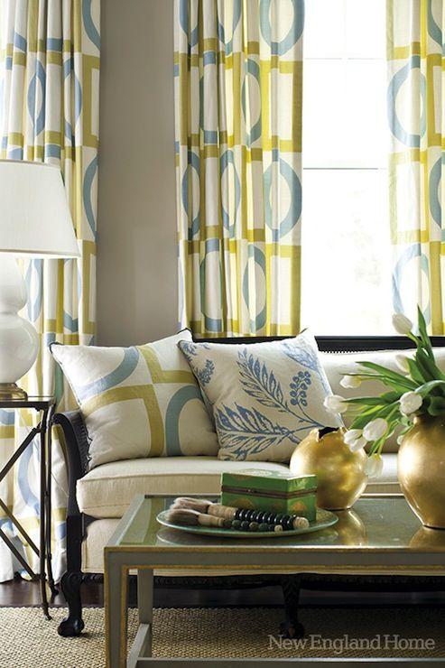 New England Home Han Hiltz Chic Yellow Gray Blue Living Room