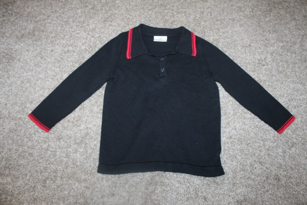 black and red polo sweater