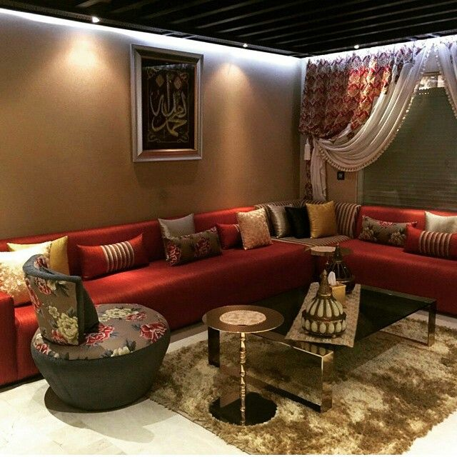 salon marocain moderne orange rouge | salon