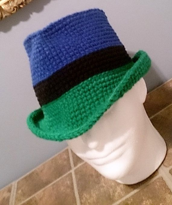 7c8086f4947e0 Fedora Winter Crochet Hat For Men Women Unisex Royal Blue Green Black  Band Cowboy Newsboy In 3 Color