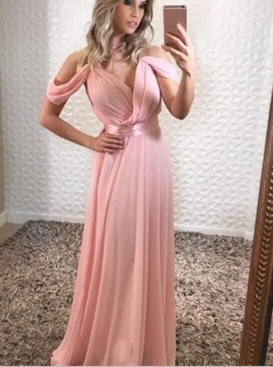 Off Shoulder Pink Chiffon Prom Dresses, Sexy Evening | TEENS ...