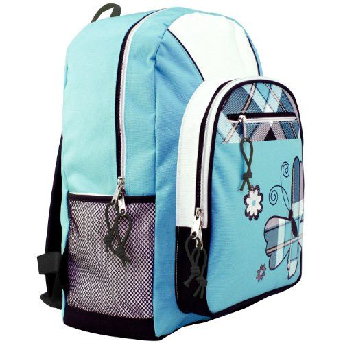 17 inch Turquoise Plaid Butterfly Student Bookbag Backpack   - Click image twice - See a larger selection of little girls backpacks at http://kidsbackpackstore.com/product-category/little-girls-backpack/ - kids, juniors, back to school, kids fashion ideas, school supplies, backpack, bag , teenagers, girls, boys, gift ideas