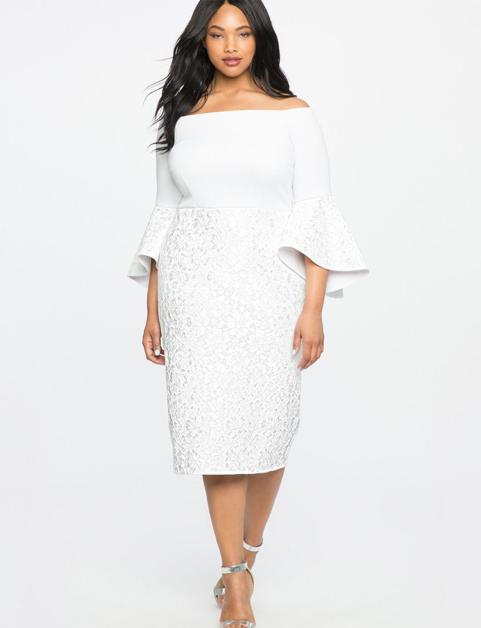 0c7d0c53af A modern off-the-shoulder dress to add a sophisticated grace with your  wedding-day glow.