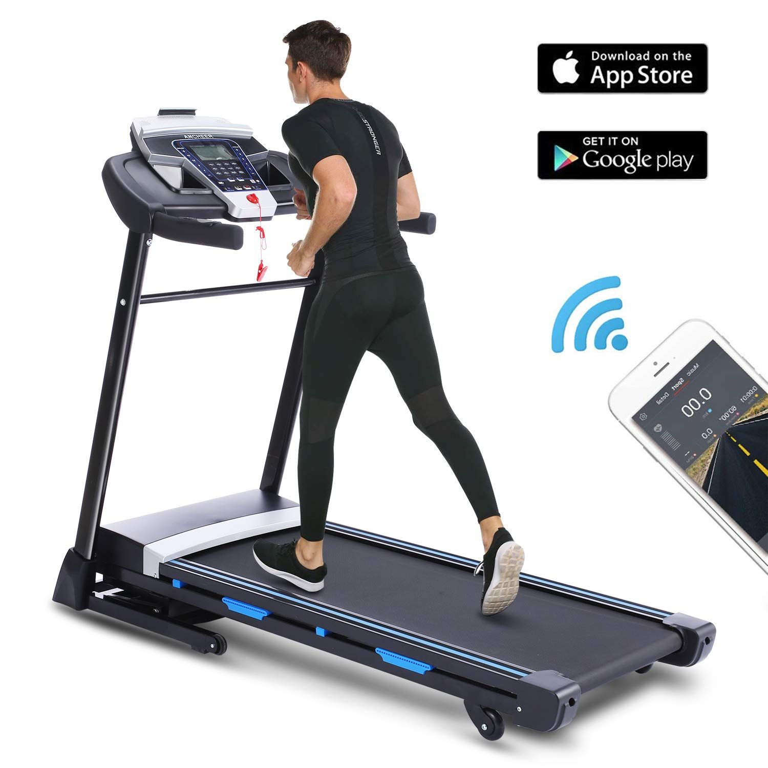 ANCHEER Folding Treadmill with APP Control, 3.25HP