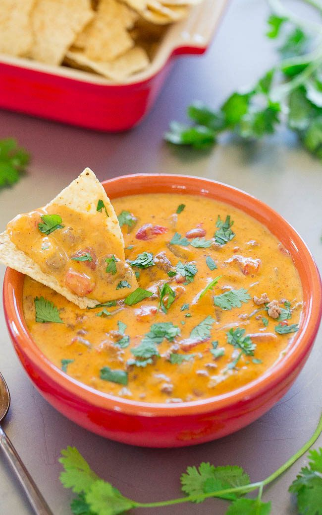 Velveeta Queso Dip With Ground Beef A Classic Averie Cooks Recipe Queso Dip Velveeta Queso Dip Pizza Dipping