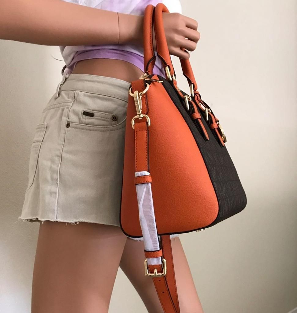 14df65e7c07f NWT Michael Kors Large Brown Tangerine Leather Ciara Satchel Crossbody Bag  $199.99