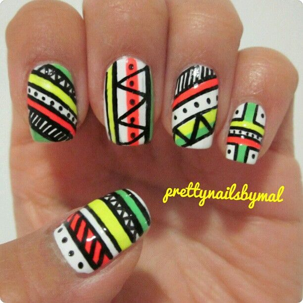 nail #nails #nailart | AZTEC TRIBAL THEMED NAILS | Pinterest | Nail ...