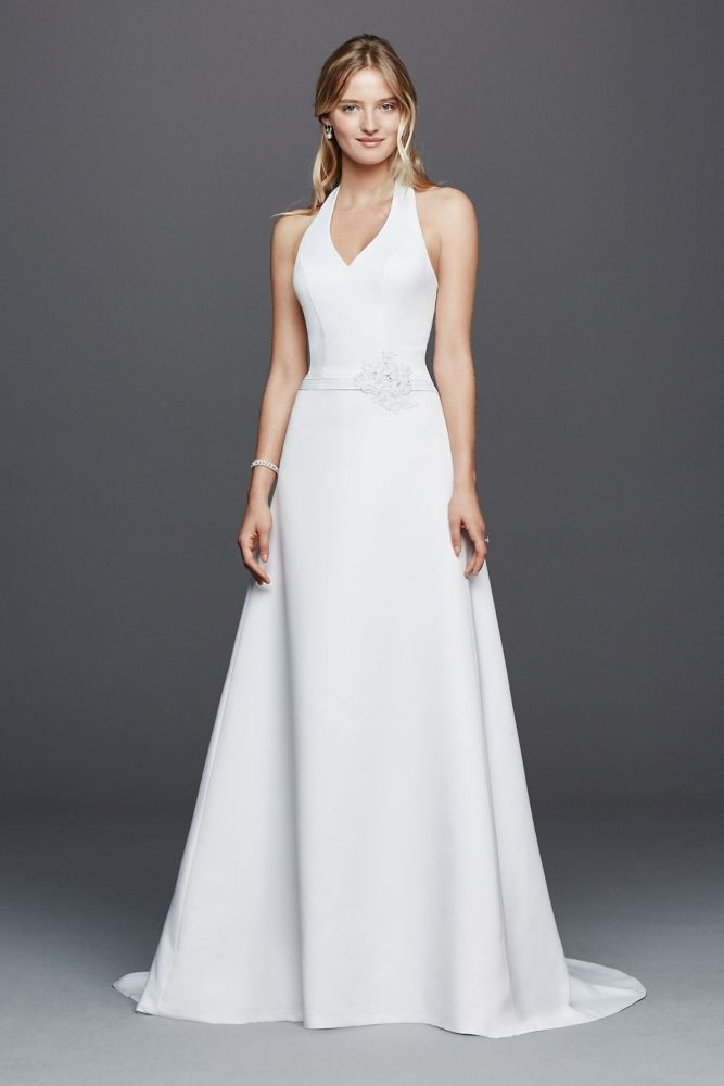 Halter V-neck Wedding Dress with Flower Detail Style OP1258 ...
