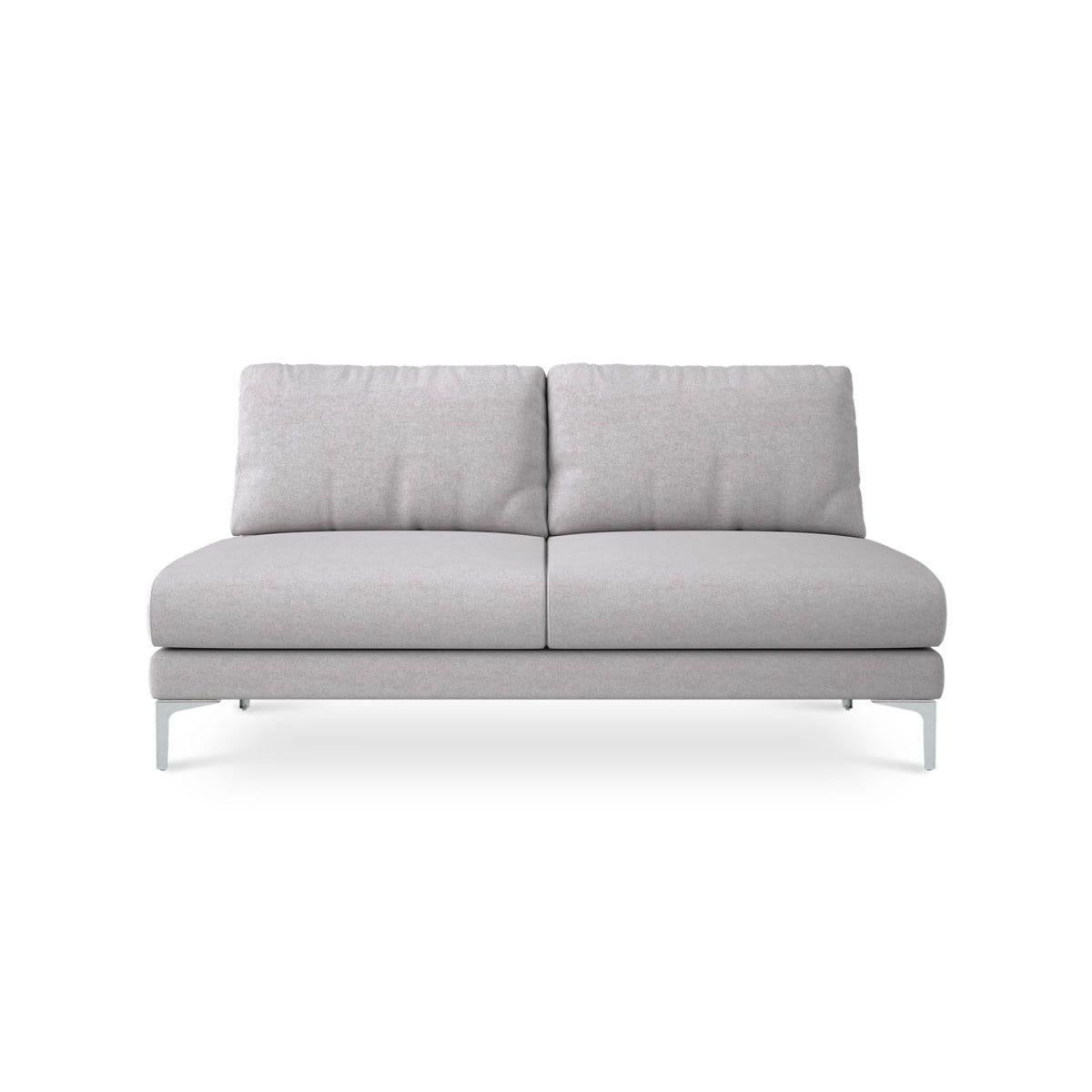 Adams Armless 2 Seater Sofa Modern Gray Fabric Modular Loveseat