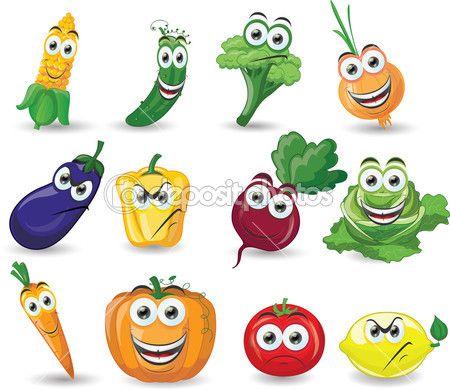 Dibujos Animados De Verduras Con Diferentes Emociones Ilustracion De Stock Animales En Foami Dibujos Dibujos Animados
