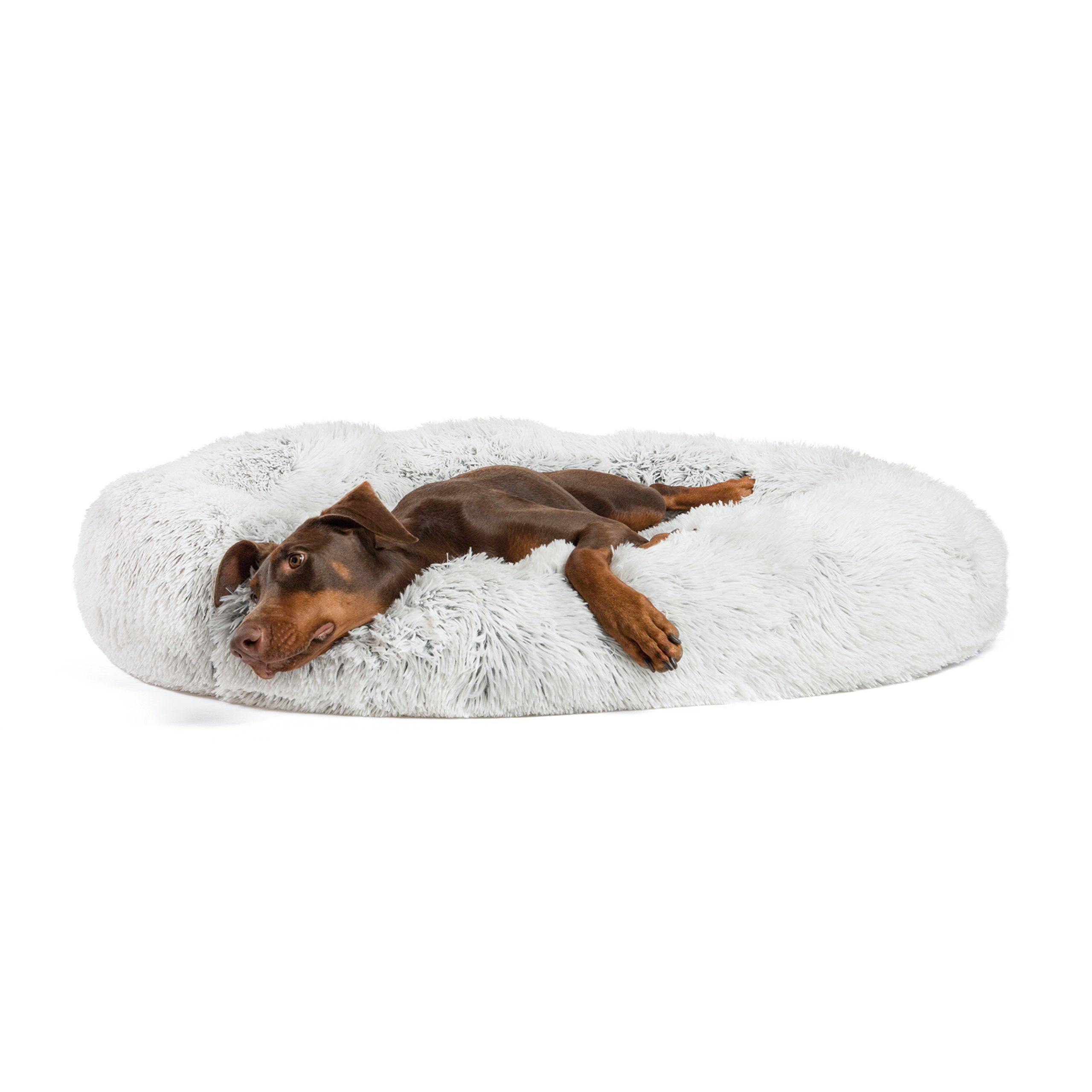 Best Friends By Sheri Luxury Shag Fur Donut Cuddler 45a Frost A Extra Large Round Donut Cat And Dog In 2020 Dog Beds For Small Dogs Dog Mattresses Dog Bed Cushion