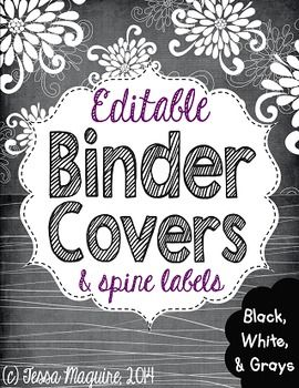editable binder covers black white and grays primary