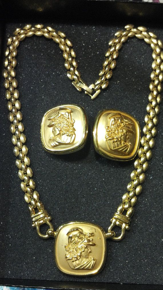 Vintage Necklace and Earring Set Greek God Apollo by goddessalexis