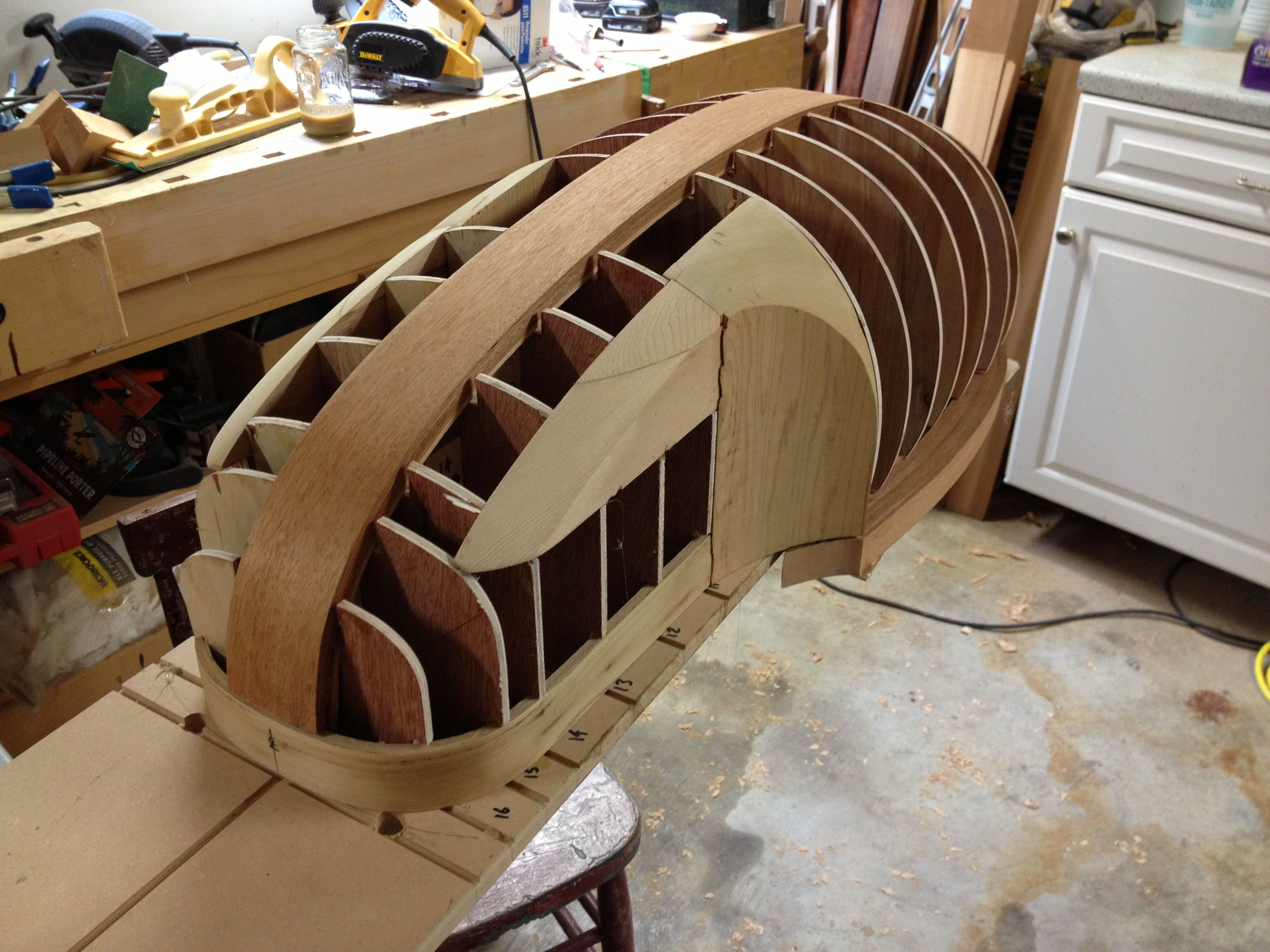 Strip plank composite sailboat building