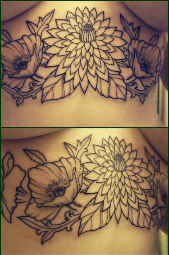 These are my flowers on the front of my ribcage, directly below the ta-tas. The color will have been finished by the time this is published.This is my 5th tattoo (many more to come).  Dahlias, poppies, and marigolds have been my favorite flowers since I was very small, and every time I see myself in the mirror now I'm reminded of visiting a local Dahlia festival every year with my mom.This is my favorite so far and I can't wait to have it finished.Done by Mike V. at Artwork Rebels in