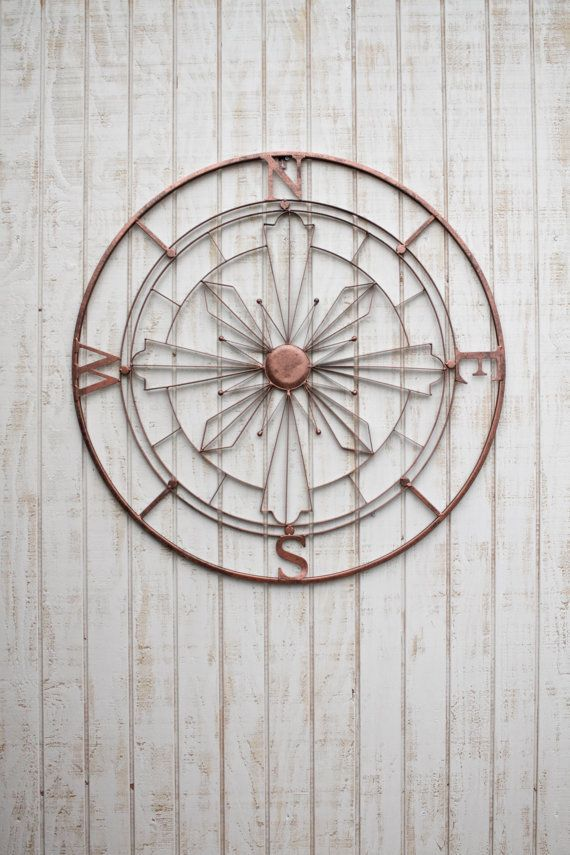 Nautical Compass Wall Art Rustic Wall Decor Metal By Honeywoodhome