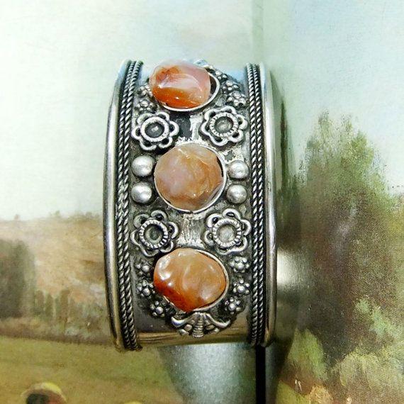 Vintage Handtooled Cuff Bracelet with Rose Red by SunStateVintage