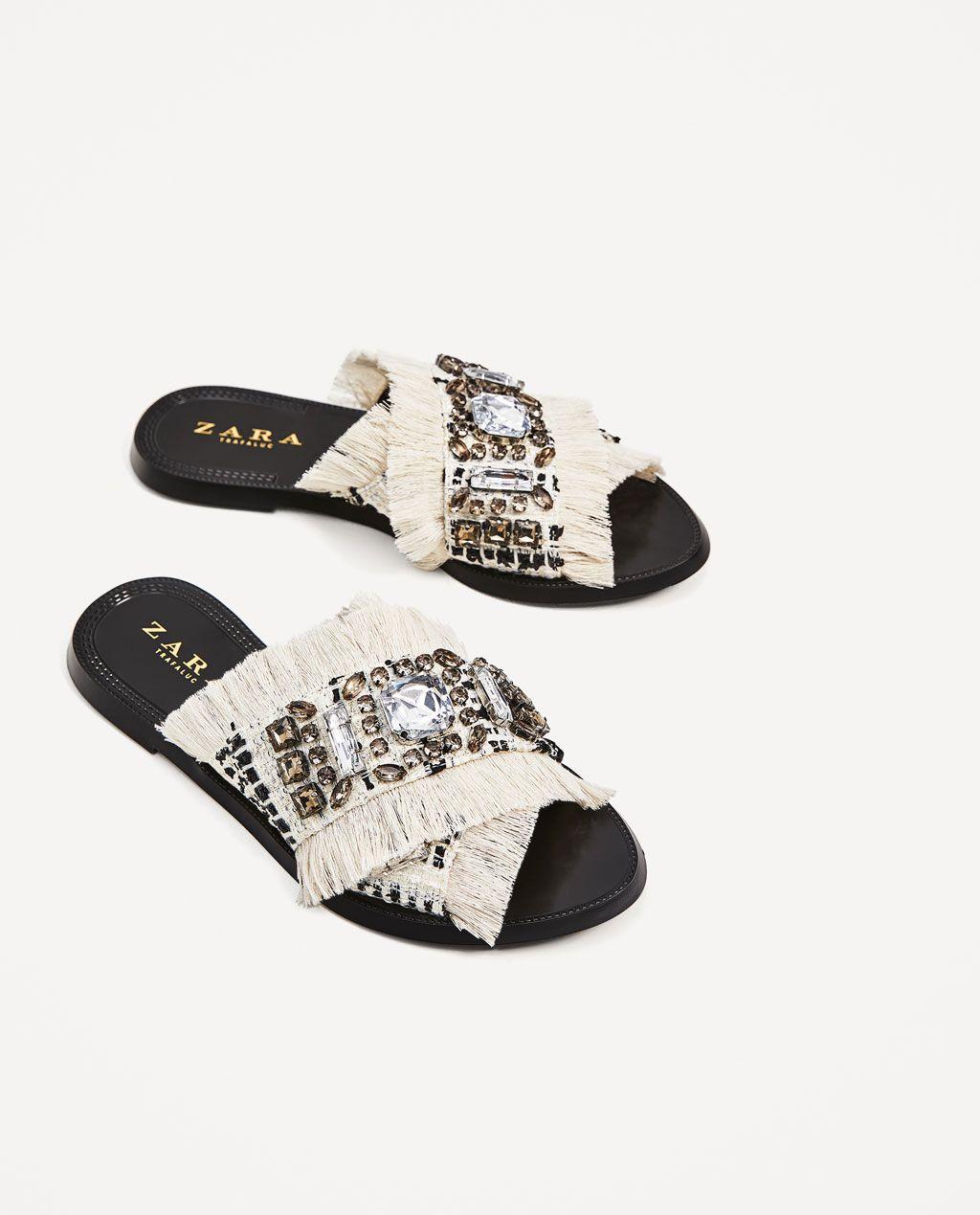 fabric slidesflat sandalsshoeswoman zara united