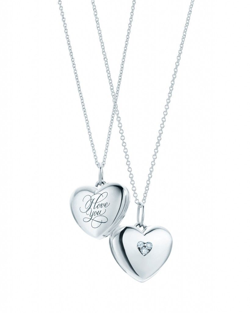 dc18401a2 Tiffany & Co. Hearts Locket with Inscription & Diamonds in Sterling Silver