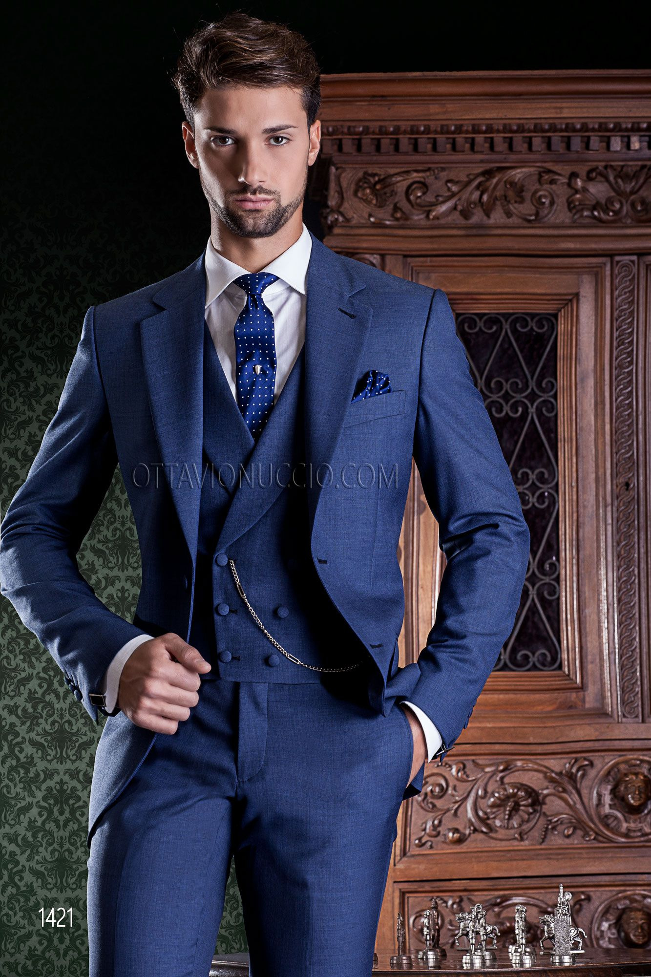 Royal blue wedding suit in wool blend with shawl double-breasted ...