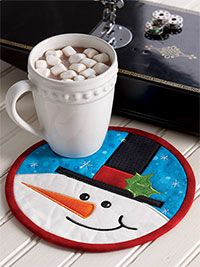 Smiling Snowman Mug Mat Digital Pattern