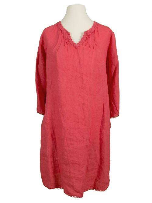 Damen Tunika Kleid aus Leinen, koralle von Puro Lino bei www.meinkleidchen.de
