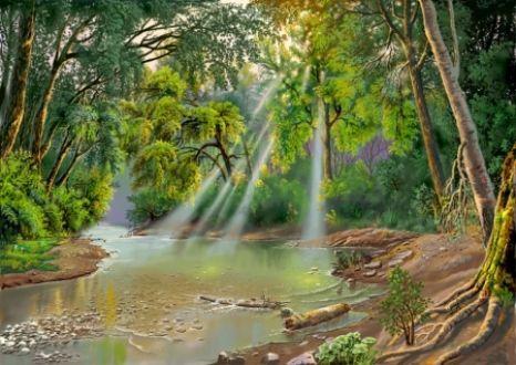 Abstract Forest River HD Desktop Wallpaper