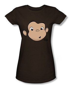 Look at this #zulilyfind! Brown Curious George Face Tee - Women by Trevco #zulilyfinds