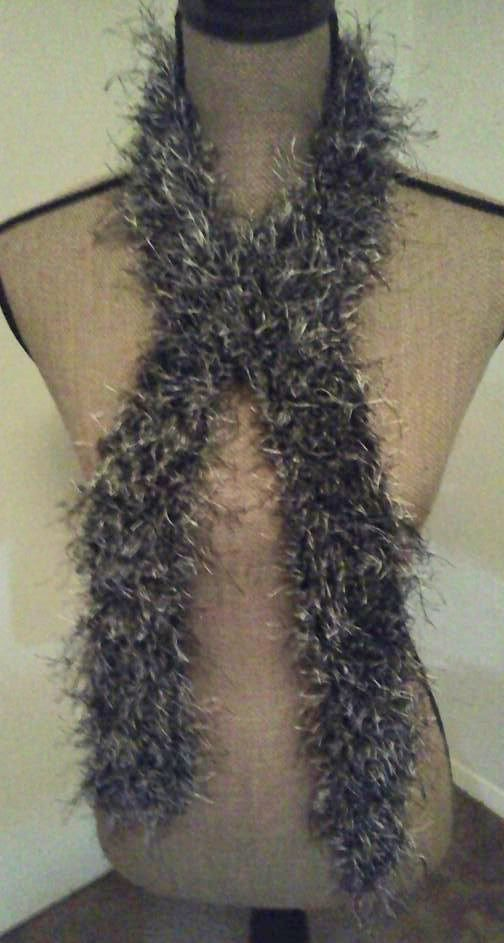 Crochet Scarf - Fun fur black/mink | Scarves and ...