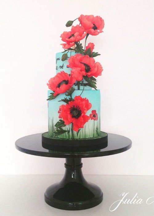 3d Floral Cake On 12 Inch Black Cake Stand Wedding Cake Stands Floral Cake Black Cake Stand