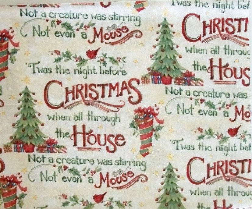 Christmas Fabric By The Yard Quilting Sewing Susan Winget T'was The Night Collection Christmas Trees Stockings by NeedlesnPinsStichery on Etsy