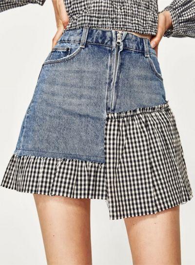 Fashion Plaid Denim Panel Mini Skirt