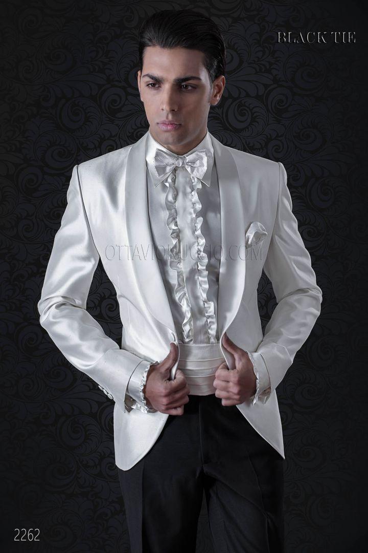 Matrimonio In Smoking : Giacca smoking uomo da matrimonio bianca collo scialllato jackets