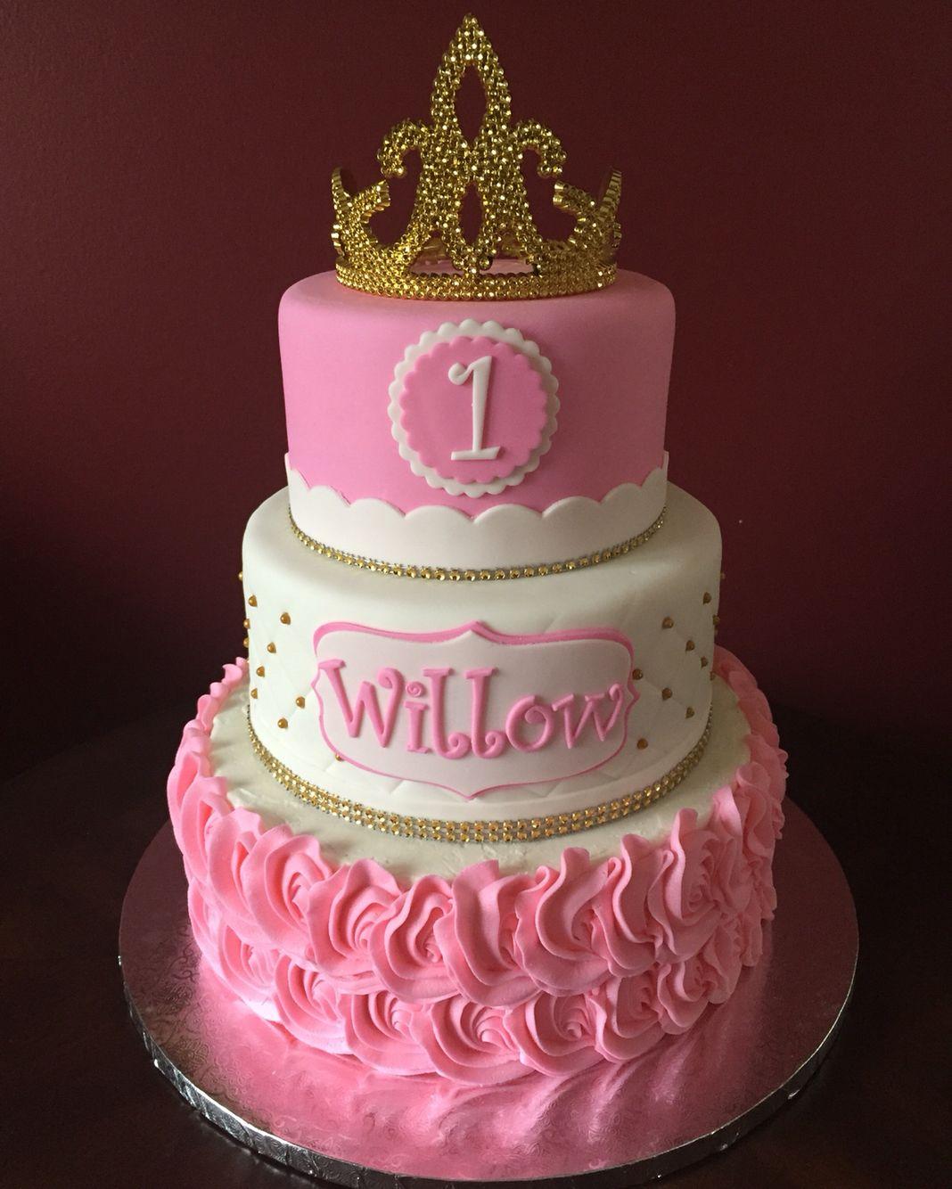 Princess Tiara First Birthday Cake