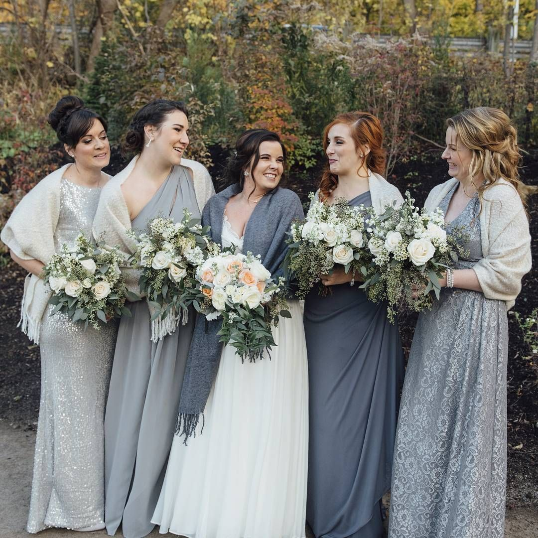 Winter David's Bridal Bridesmaids In Shades Of Grey With