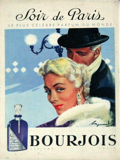 affiche bourjois soir de paris parfums 1950 raymond. Black Bedroom Furniture Sets. Home Design Ideas