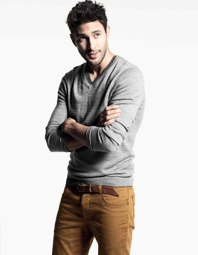 grey sweater with brown pants