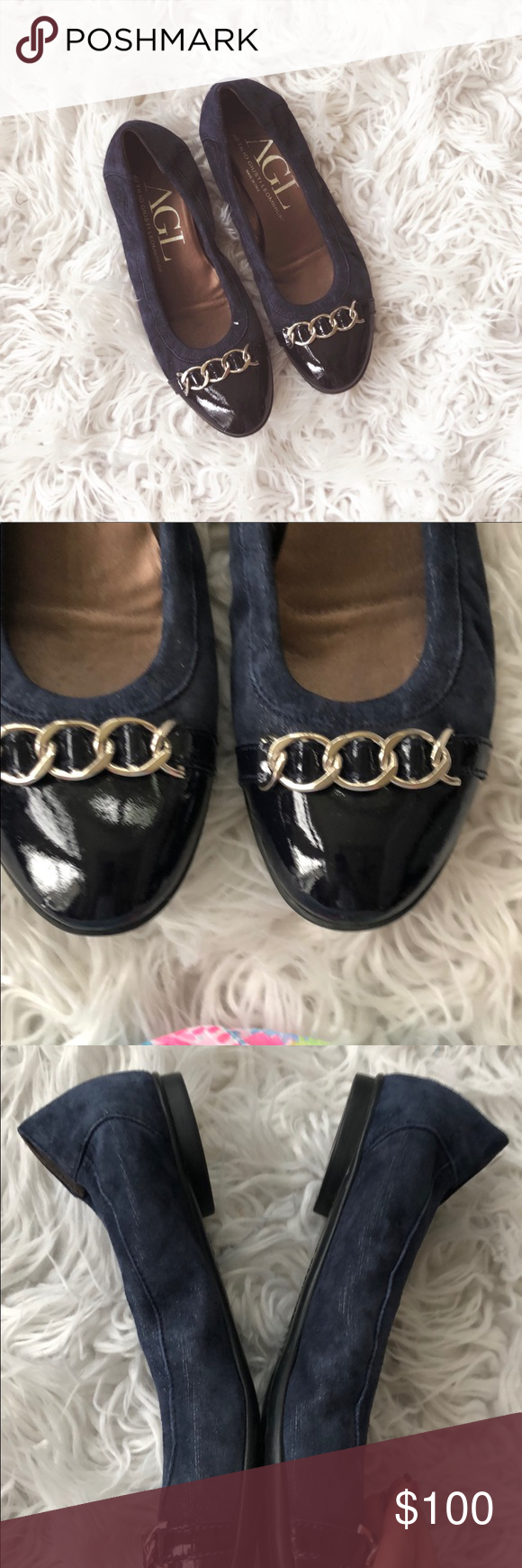 AGL Brown with Black Patent Toe Flats Size 39.5   Black