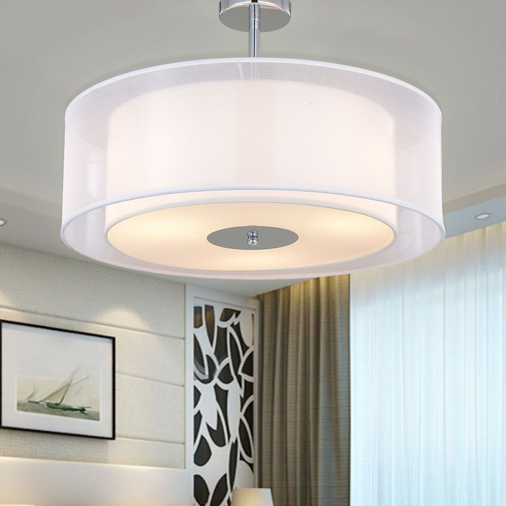 Sparksor Ceiling Light In Chrome Matt Fabric Drum Shade Gray