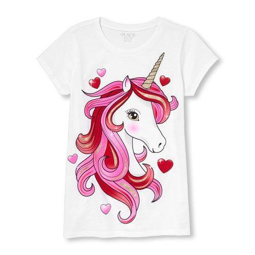 0626dcc13f Girls Valentines Day Short Sleeve Glitter Unicorn Graphic Tee ...