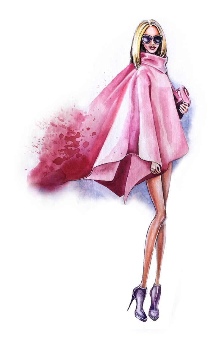Street Style Fashion Illustration, Pink Look By Olga