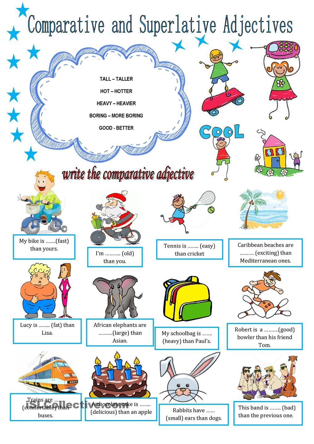 worksheet Comparative Adjectives Worksheets 10 images about adjectives on pinterest english grammar test lessons and student centered resources